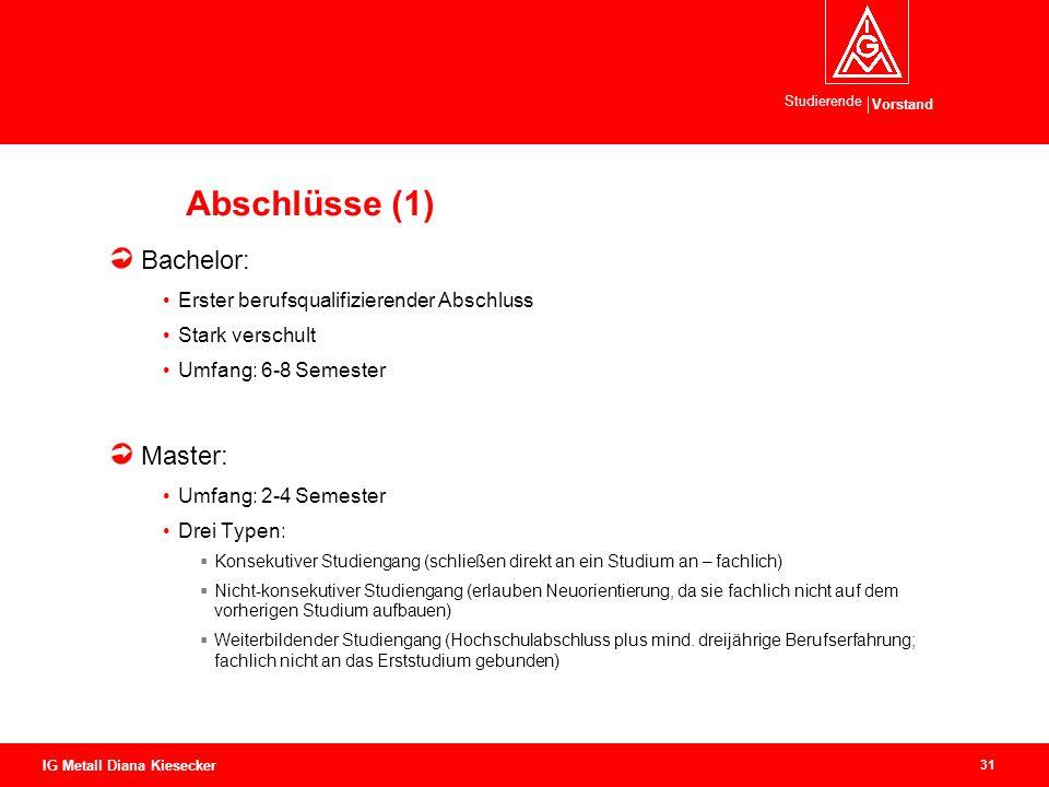 Vorstand Studierende 31 IG Metall Diana Kiesecker Abschlüsse (1) Bachelor: Erster berufsqualifizierender Abschluss Stark verschult Umfang: 6-8 Semeste