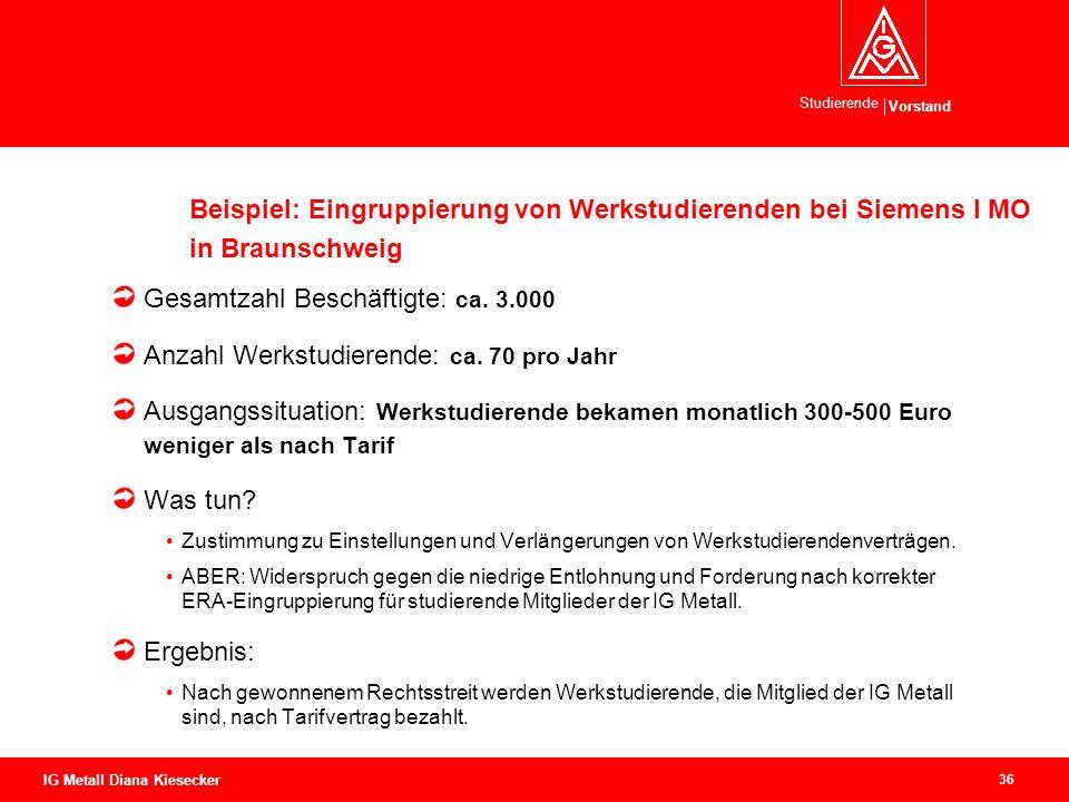 Vorstand Studierende 36 IG Metall Diana Kiesecker Beispiel: Eingruppierung von Werkstudierenden bei Siemens I MO in Braunschweig Gesamtzahl Beschäftig