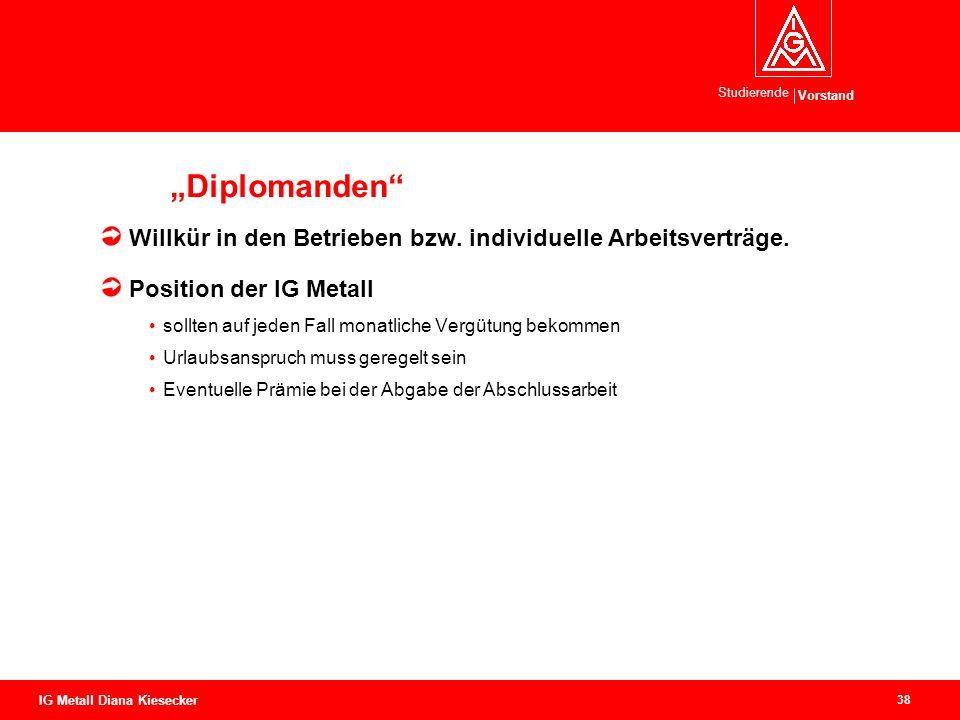 Vorstand Studierende 38 IG Metall Diana Kiesecker Diplomanden Willkür in den Betrieben bzw. individuelle Arbeitsverträge. Position der IG Metall sollt