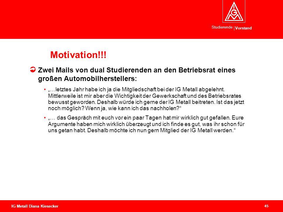 Vorstand Studierende 45 IG Metall Diana Kiesecker Motivation!!! Zwei Mails von dual Studierenden an den Betriebsrat eines großen Automobilherstellers: