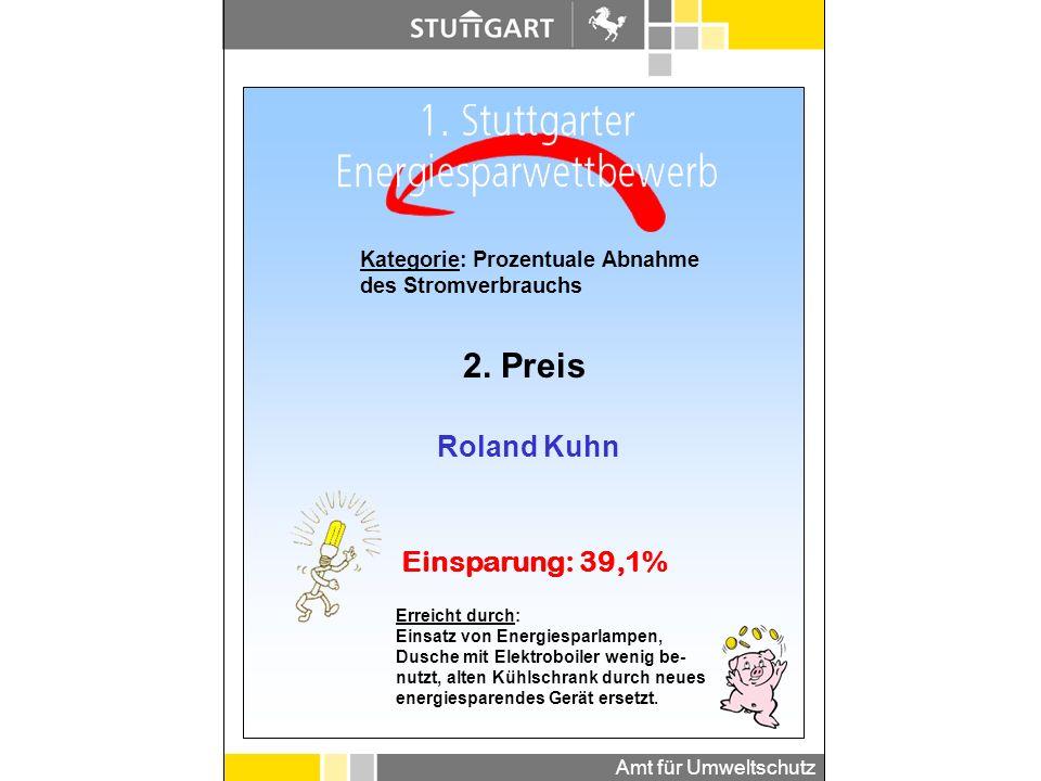 Amt für Umweltschutz Kategorie: Prozentuale Abnahme des Wärmeverbrauchs - Haushalte 2. Preis Andreas Jonas Einsparung: 31,5% Erreicht durch: Solarther