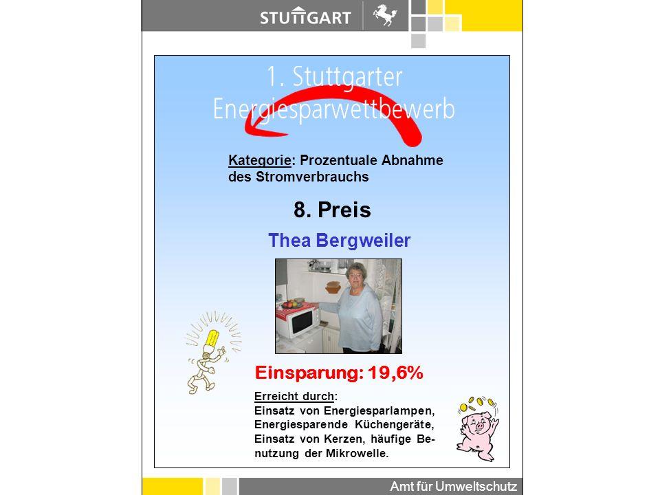Amt für Umweltschutz Kategorie: Prozentuale Abnahme des Stromverbrauchs 7. Preis Doris Christoph Einsparung: 20,9% Erreicht durch: Einschalten des Lic