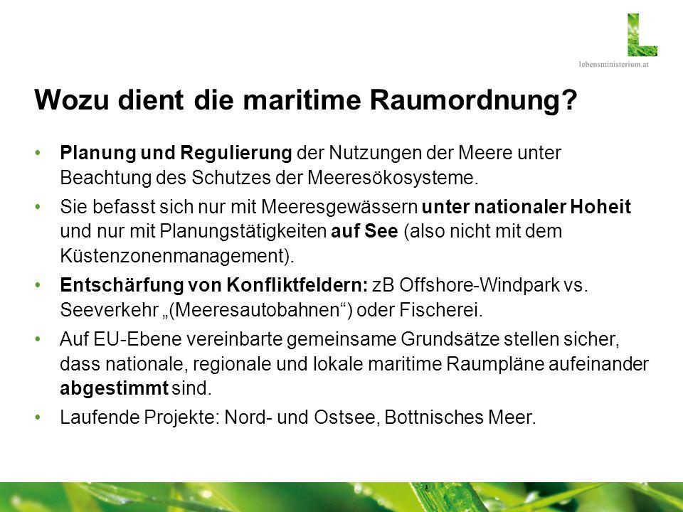 Wozu dient die maritime Raumordnung? Planung und Regulierung der Nutzungen der Meere unter Beachtung des Schutzes der Meeresökosysteme. Sie befasst si
