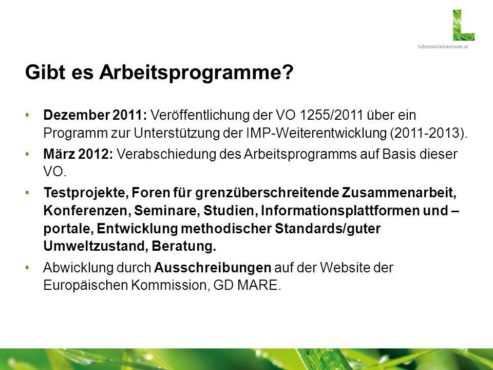 Gibt es Arbeitsprogramme? Dezember 2011: Veröffentlichung der VO 1255/2011 über ein Programm zur Unterstützung der IMP-Weiterentwicklung (2011-2013).