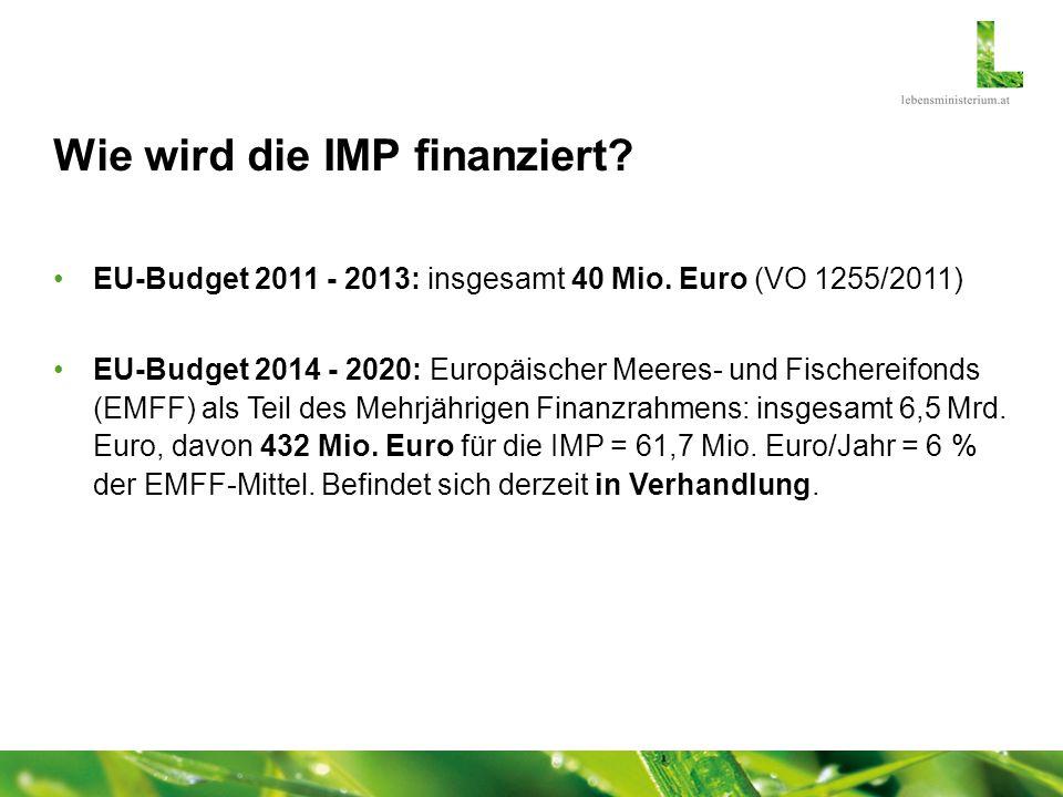 Wie wird die IMP finanziert? EU-Budget 2011 - 2013: insgesamt 40 Mio. Euro (VO 1255/2011) EU-Budget 2014 - 2020: Europäischer Meeres- und Fischereifon