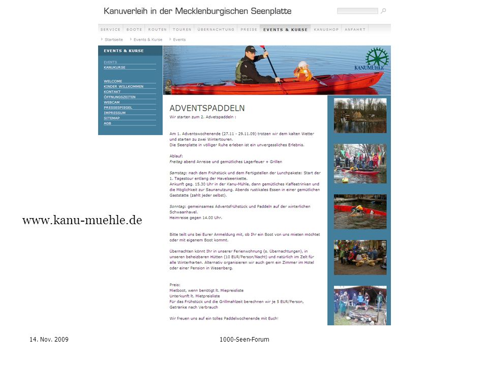 14. Nov. 20091000-Seen-Forum www.kanu-muehle.de
