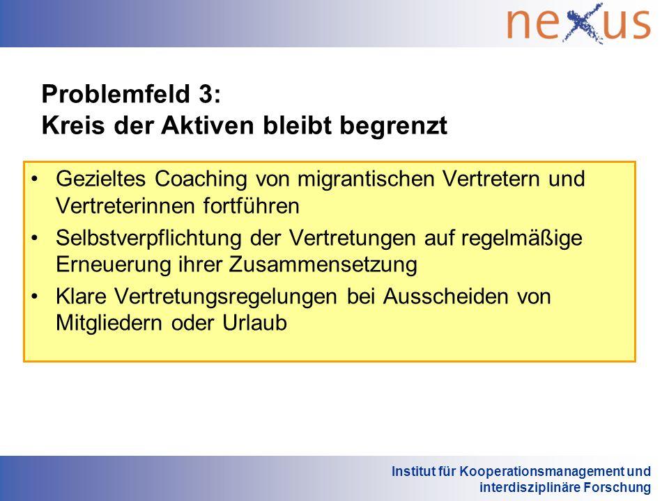 Institut für Kooperationsmanagement und interdisziplinäre Forschung Problemfeld 3: Kreis der Aktiven bleibt begrenzt Gezieltes Coaching von migrantisc