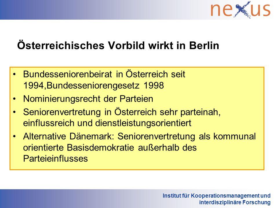Institut für Kooperationsmanagement und interdisziplinäre Forschung Österreichisches Vorbild wirkt in Berlin Bundesseniorenbeirat in Österreich seit 1