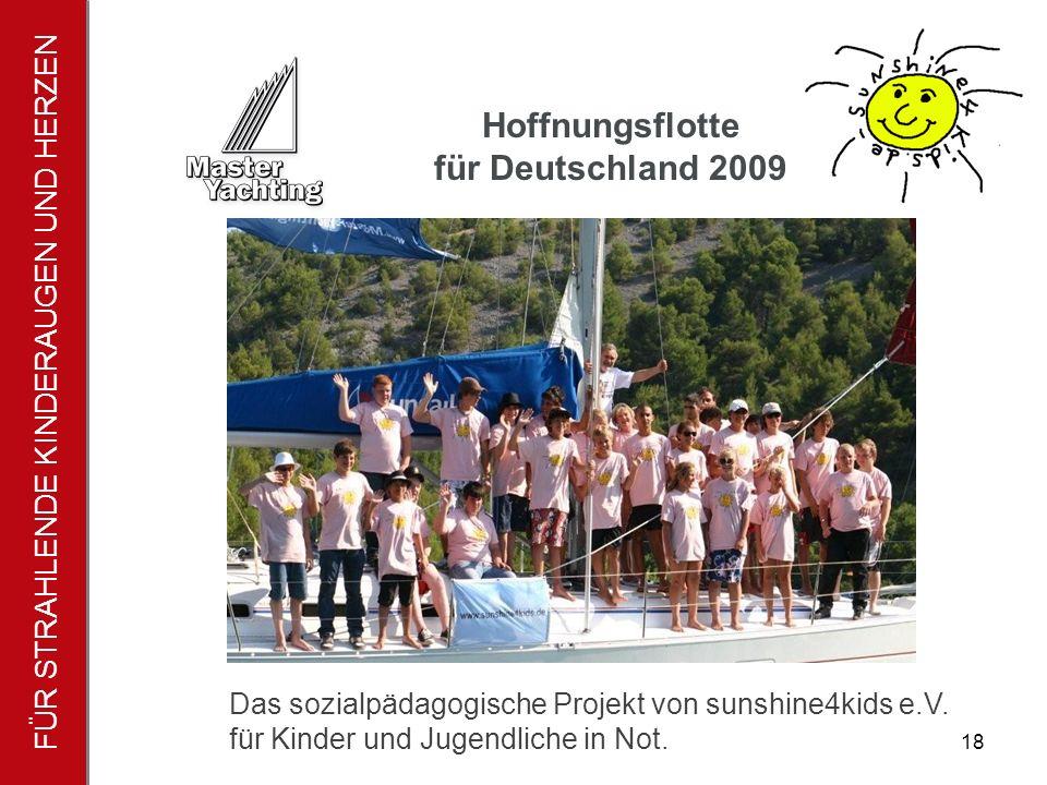 FÜR STRAHLENDE KINDERAUGEN UND HERZEN Hoffnungsflotte für Deutschland 2009 18 Das sozialpädagogische Projekt von sunshine4kids e.V.