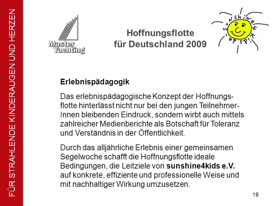 FÜR STRAHLENDE KINDERAUGEN UND HERZEN Hoffnungsflotte für Deutschland 2009 20 Wir sagen DANKE – Danke für die tolle Unterstützung.