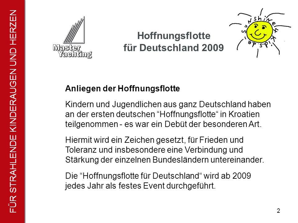 FÜR STRAHLENDE KINDERAUGEN UND HERZEN Hoffnungsflotte für Deutschland 2009 2 Anliegen der Hoffnungsflotte Kindern und Jugendlichen aus ganz Deutschland haben an der ersten deutschen Hoffnungsflotte in Kroatien teilgenommen - es war ein Debüt der besonderen Art.