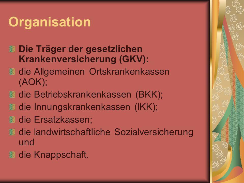 Organisation Die Träger der gesetzlichen Krankenversicherung (GKV): die Allgemeinen Ortskrankenkassen (AOK); die Betriebskrankenkassen (BKK); die Innu