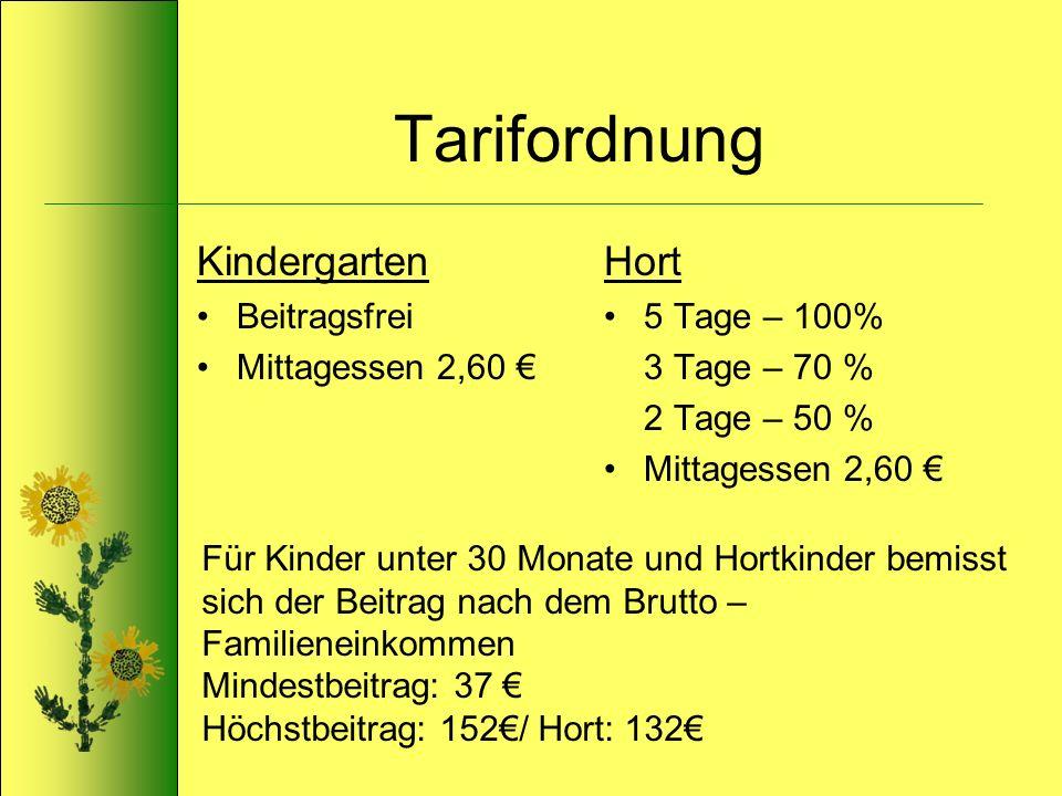 Tarifordnung Kindergarten Beitragsfrei Mittagessen 2,60 Hort 5 Tage – 100% 3 Tage – 70 % 2 Tage – 50 % Mittagessen 2,60 Für Kinder unter 30 Monate und