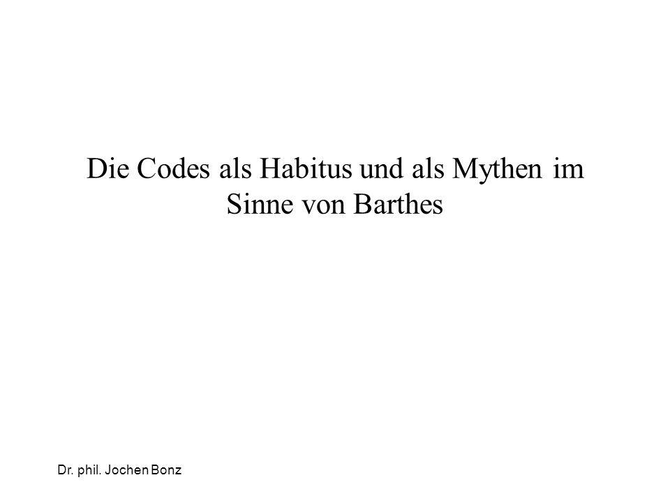 Die Codes als Habitus und als Mythen im Sinne von Barthes