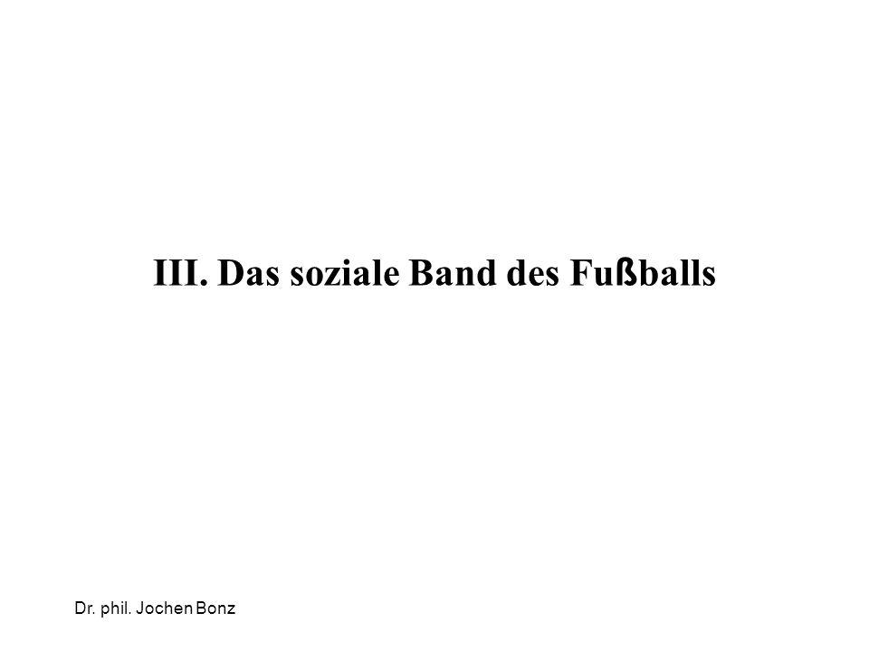 Dr. phil. Jochen Bonz III. Das soziale Band des Fu ß balls