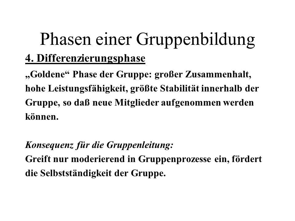 Phasen einer Gruppenbildung 4. Differenzierungsphase Goldene Phase der Gruppe: großer Zusammenhalt, hohe Leistungsfähigkeit, größte Stabilität innerha
