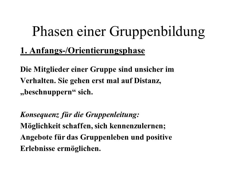 Phasen einer Gruppenbildung 2.