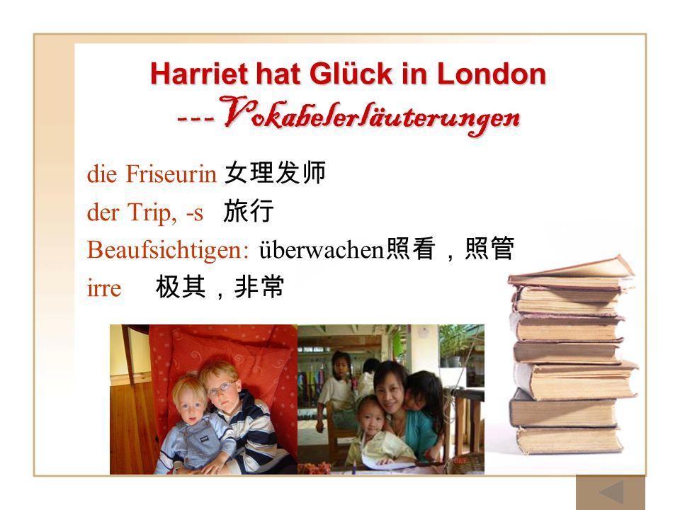 die Friseurin der Trip, -s Beaufsichtigen: überwachen irre Harriet hat Glück in London ---Vokabelerläuterungen