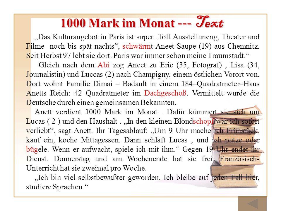1000 Mark im Monat --- Text Das Kulturangebot in Paris ist super.Toll Ausstelluneng, Theater und Filme noch bis spät nachts, schwärmt Aneet Saupe (19)