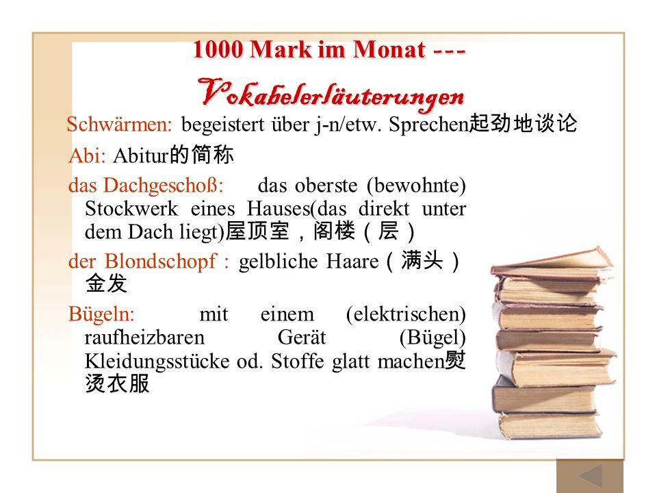 1000 Mark im Monat --- Vokabelerläuterungen Abi: Abitur das Dachgeschoß:das oberste (bewohnte) Stockwerk eines Hauses(das direkt unter dem Dach liegt)