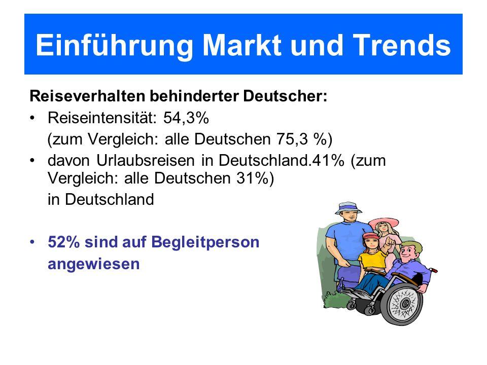 Reiseverhalten behinderter Deutscher: Reiseintensität: 54,3% (zum Vergleich: alle Deutschen 75,3 %) davon Urlaubsreisen in Deutschland.41% (zum Vergle