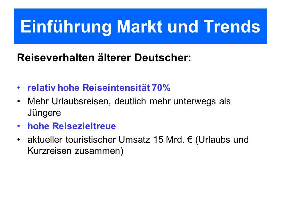 Reiseverhalten älterer Deutscher: relativ hohe Reiseintensität 70% Mehr Urlaubsreisen, deutlich mehr unterwegs als Jüngere hohe Reisezieltreue aktuell