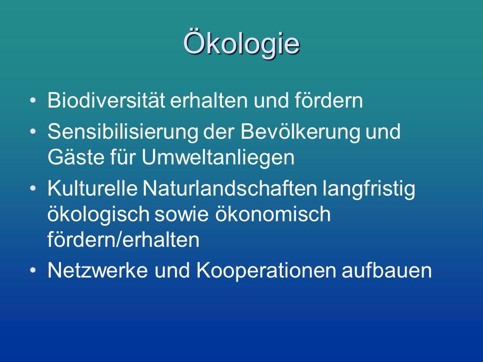 Ökologie Biodiversität erhalten und fördern Sensibilisierung der Bevölkerung und Gäste für Umweltanliegen Kulturelle Naturlandschaften langfristig öko
