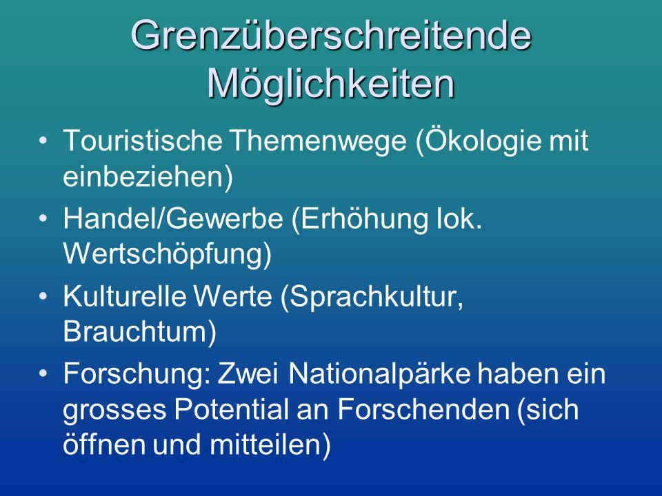 Grenzüberschreitende Möglichkeiten Touristische Themenwege (Ökologie mit einbeziehen) Handel/Gewerbe (Erhöhung lok. Wertschöpfung) Kulturelle Werte (S