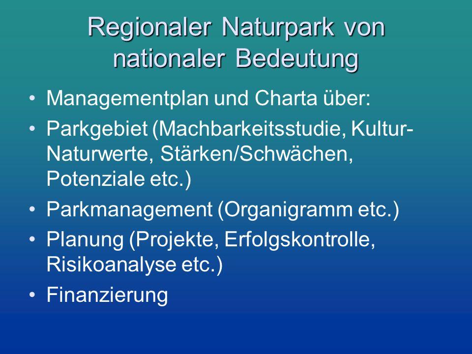 Regionaler Naturpark von nationaler Bedeutung Managementplan und Charta über: Parkgebiet (Machbarkeitsstudie, Kultur- Naturwerte, Stärken/Schwächen, P