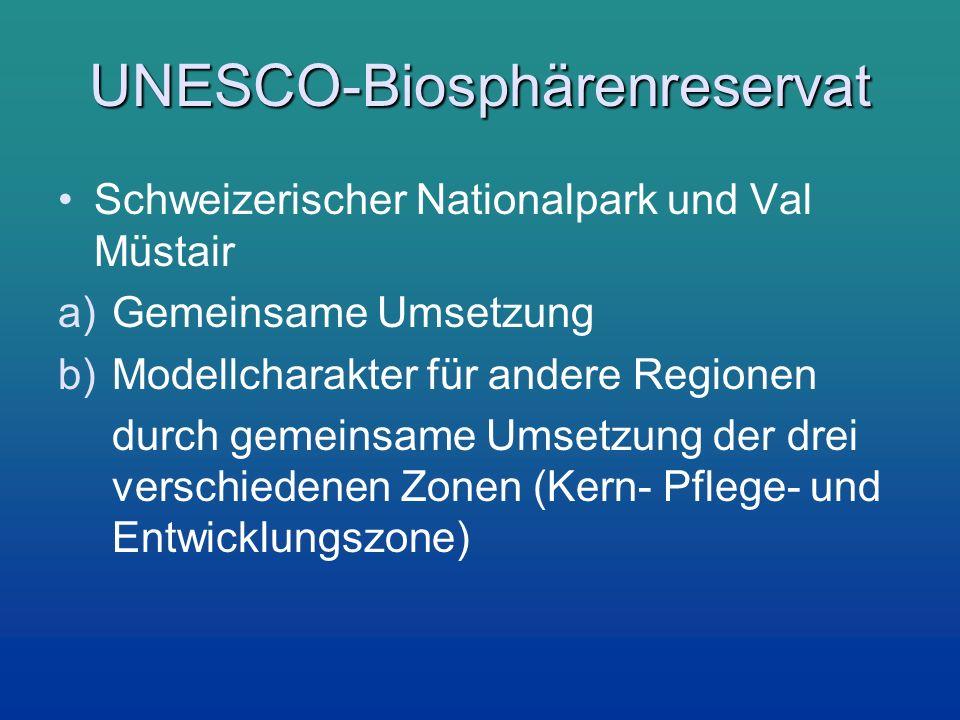 UNESCO-Biosphärenreservat Schweizerischer Nationalpark und Val Müstair a)Gemeinsame Umsetzung b)Modellcharakter für andere Regionen durch gemeinsame U