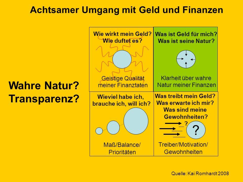 © Dr. Kai Romhardt www.romhardt.com www.achtsame-wirtschaft.de Was treibt mein Geld? Was erwarte ich mir? Was sind meine Gewohnheiten? ? Was ist Geld