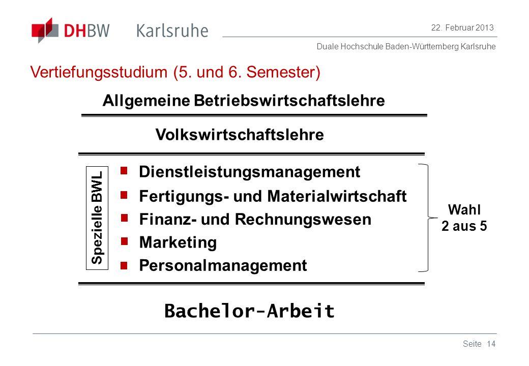Duale Hochschule Baden-Württemberg Karlsruhe 22. Februar 2013 14Seite Fertigungs- und Materialwirtschaft Finanz- und Rechnungswesen Marketing Dienstle