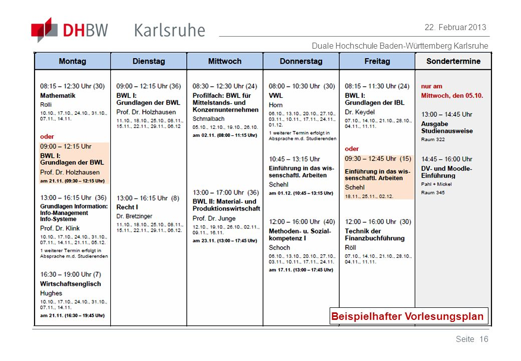 Duale Hochschule Baden-Württemberg Karlsruhe 22. Februar 2013 16Seite Beispielhafter Vorlesungsplan