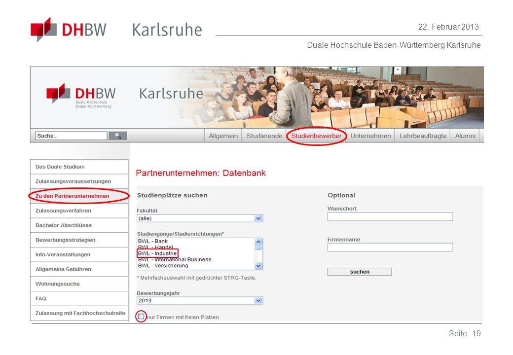 Duale Hochschule Baden-Württemberg Karlsruhe 22. Februar 2013 19Seite