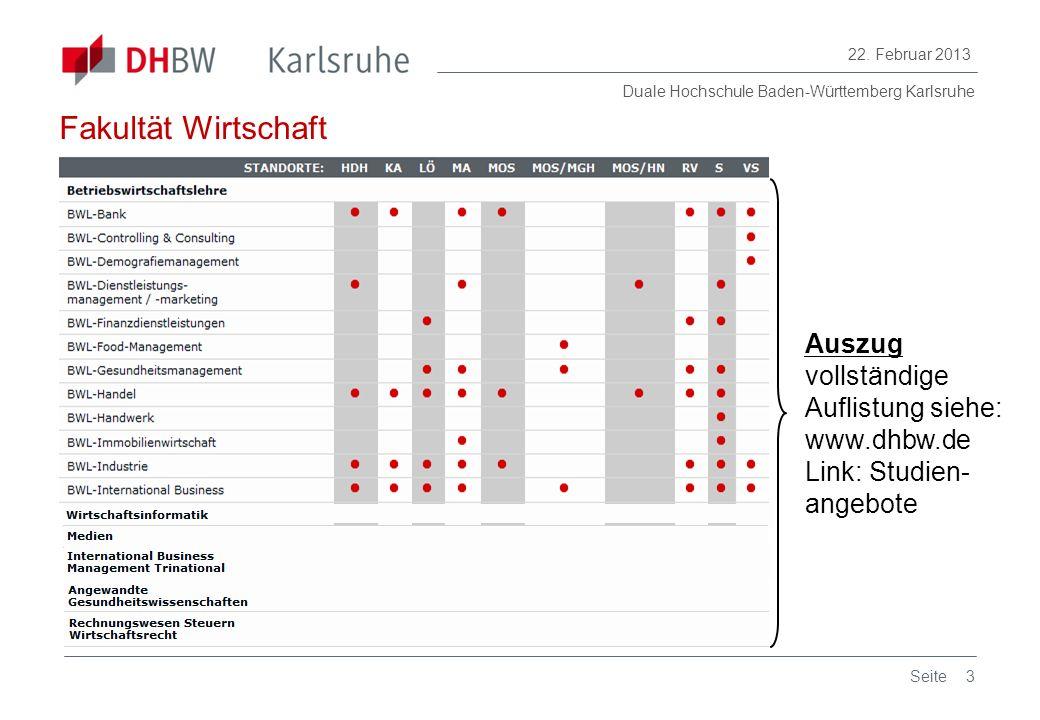 Duale Hochschule Baden-Württemberg Karlsruhe 22. Februar 2013 3Seite Auszug vollständige Auflistung siehe: www.dhbw.de Link: Studien- angebote Fakultä