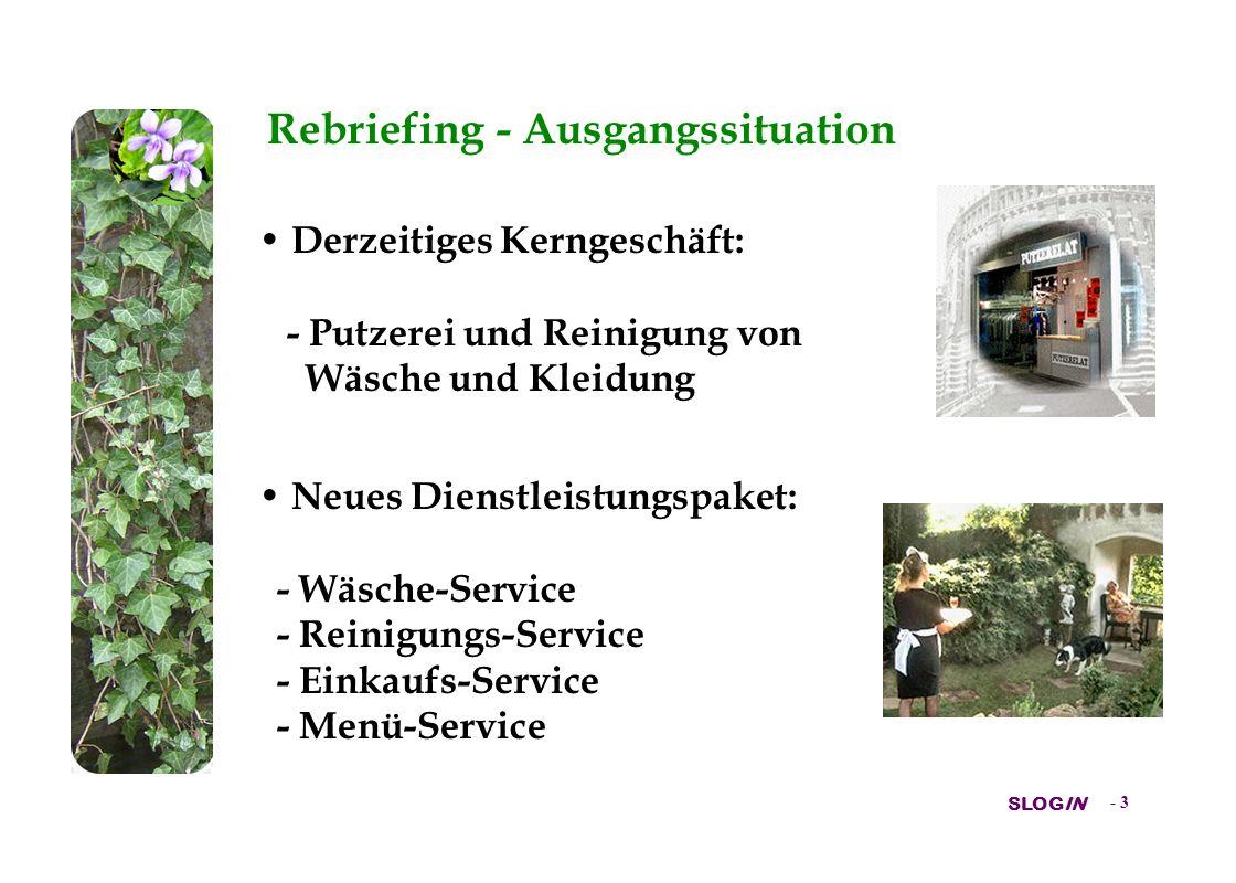 SLOGIN - 3 Rebriefing - Ausgangssituation Derzeitiges Kerngeschäft: - Putzerei und Reinigung von Wäsche und Kleidung Neues Dienstleistungspaket: - Wäsche-Service - Reinigungs-Service - Einkaufs-Service - Menü-Service