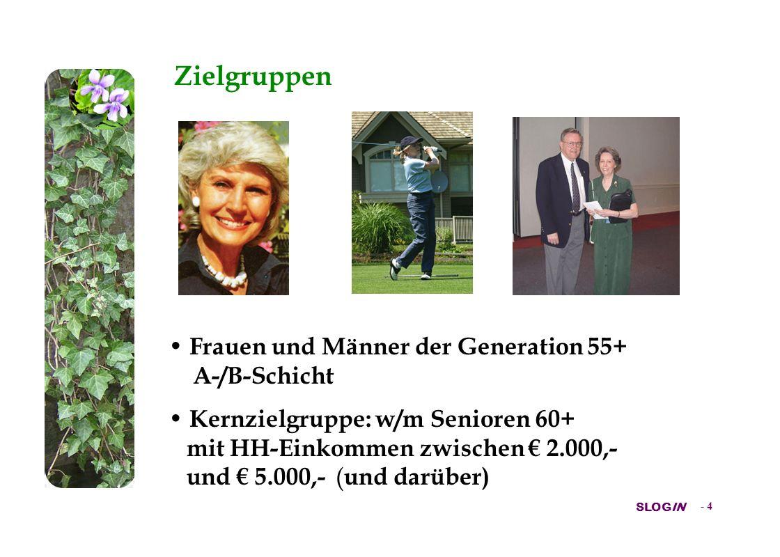 SLOGIN - 4 Zielgruppen Frauen und Männer der Generation 55+ A-/B-Schicht Kernzielgruppe: w/m Senioren 60+ mit HH-Einkommen zwischen 2.000,- und 5.000,- ( und darüber)