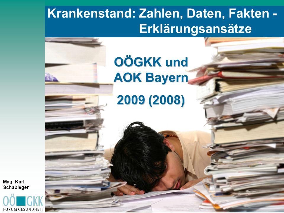 S t i c h w o r t eS t i c h w o r t e Krankenstand: Zahlen, Daten, Fakten - Erklärungsansätze OÖGKK und AOK Bayern 2009 (2008) Mag. Karl Schableger