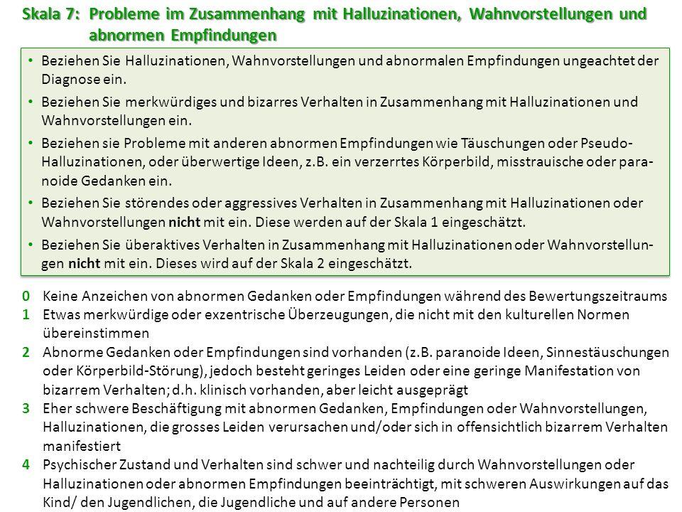 Skala 7: Probleme im Zusammenhang mit Halluzinationen, Wahnvorstellungen und abnormen Empfindungen 0Keine Anzeichen von abnormen Gedanken oder Empfind
