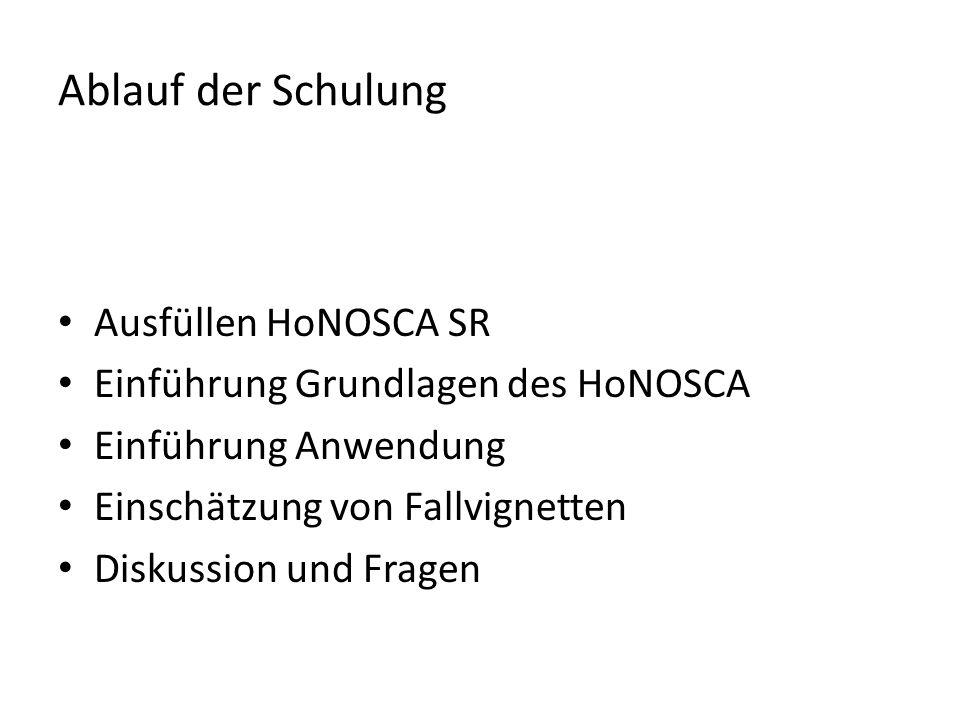Ablauf der Schulung Ausfüllen HoNOSCA SR Einführung Grundlagen des HoNOSCA Einführung Anwendung Einschätzung von Fallvignetten Diskussion und Fragen