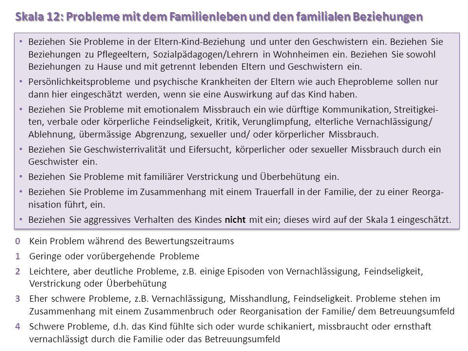 Skala 12: Probleme mit dem Familienleben und den familialen Beziehungen 0Kein Problem während des Bewertungszeitraums 1Geringe oder vorübergehende Pro