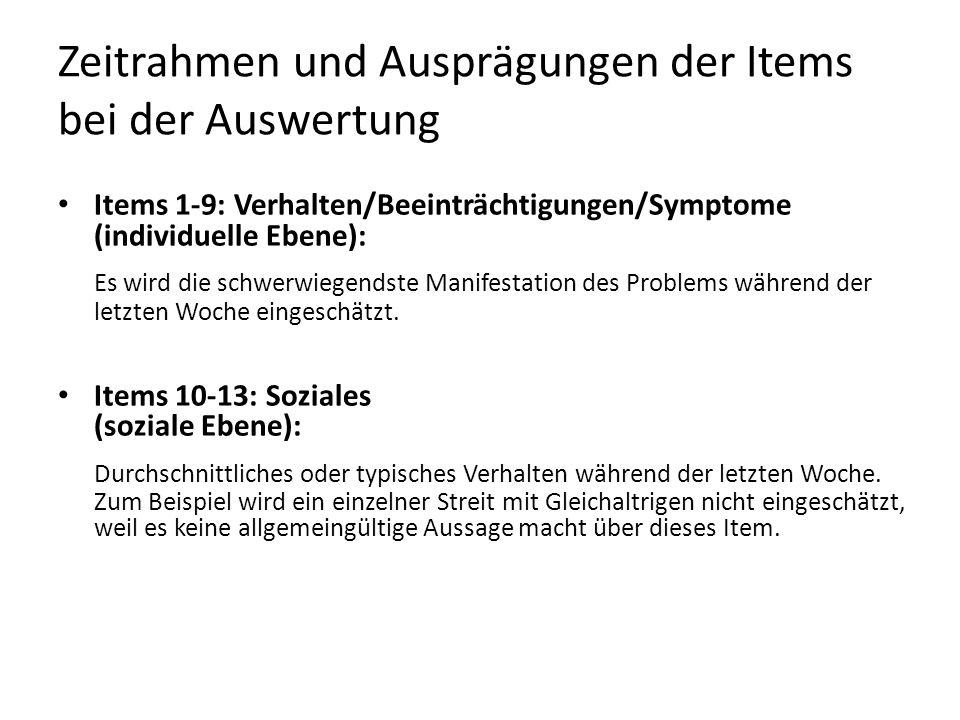 Zeitrahmen und Ausprägungen der Items bei der Auswertung Items 1-9: Verhalten/Beeinträchtigungen/Symptome (individuelle Ebene): Es wird die schwerwieg