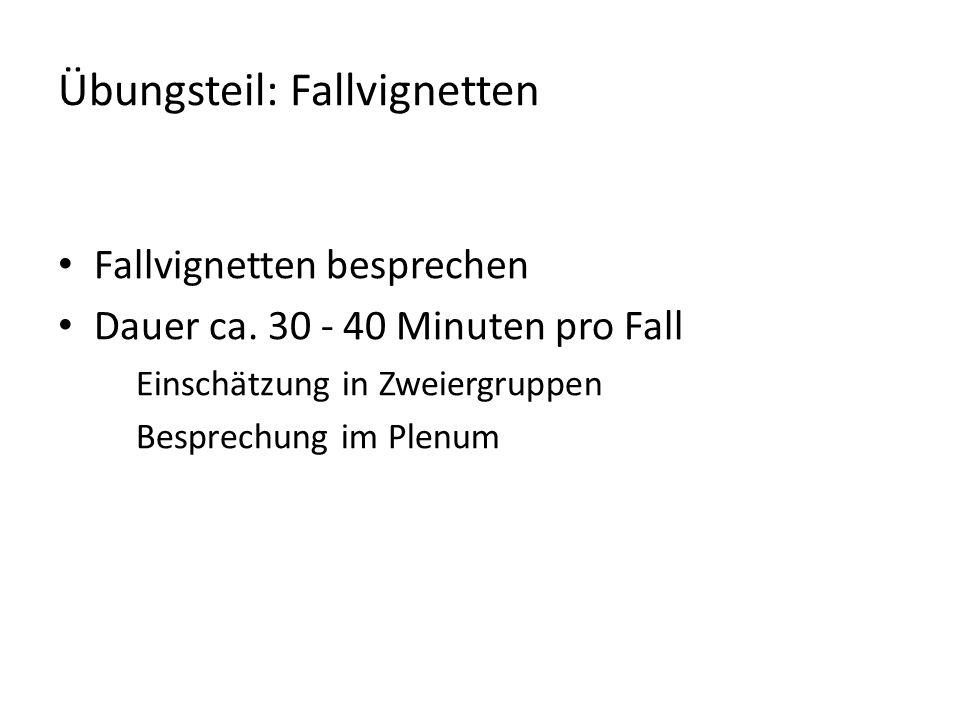 Übungsteil: Fallvignetten Fallvignetten besprechen Dauer ca.