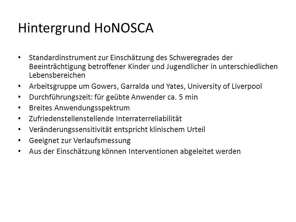 Hintergrund HoNOSCA Standardinstrument zur Einschätzung des Schweregrades der Beeinträchtigung betroffener Kinder und Jugendlicher in unterschiedliche
