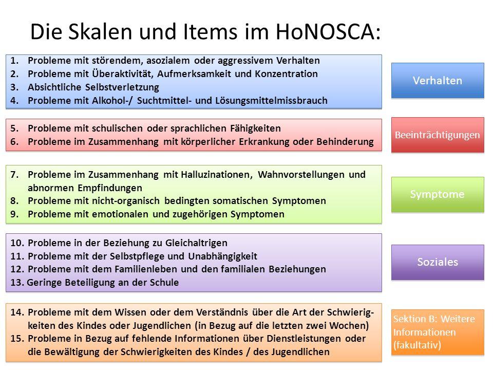 Die Skalen und Items im HoNOSCA: 1. Probleme mit störendem, asozialem oder aggressivem Verhalten 2. Probleme mit Überaktivität, Aufmerksamkeit und Kon