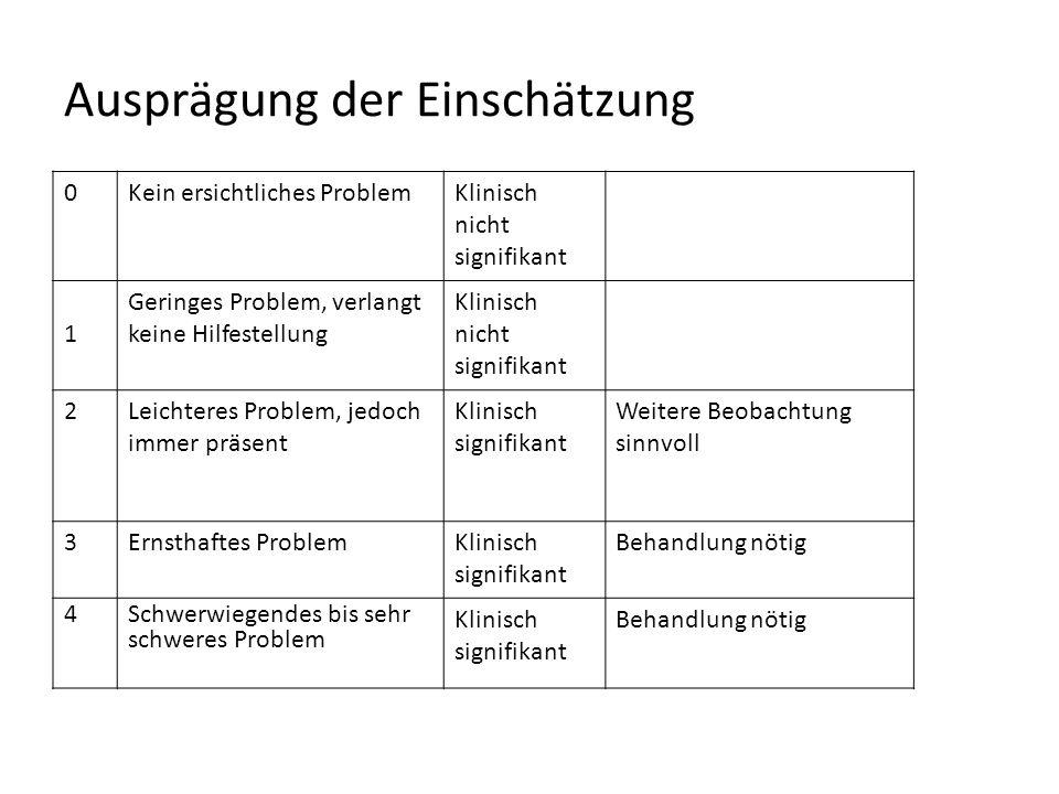 Skala 11: Probleme mit der Selbstpflege und Unabhängigkeit 0Kein Problem während des Bewertungszeitraums; gute Funktionsfähigkeit in allen Bereichen 1Nur klinisch unbedeutende Probleme, z.B.