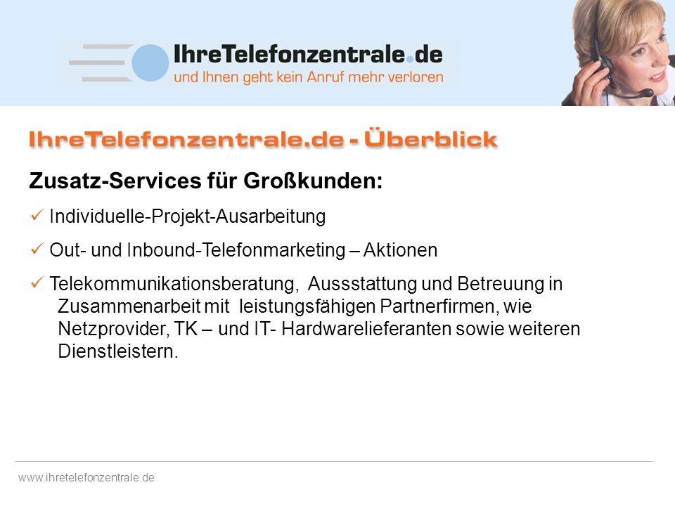 www.ihretelefonzentrale.de IhreTelefonzentrale.de nimmt Ihre Anrufe entgegen – wann immer Sie es wünschen sendet Infos zum Anruf per Mail und ggf. SMS
