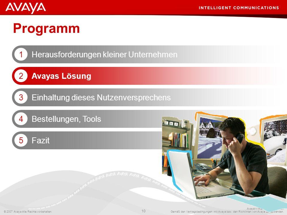 © 2007 Avaya Alle Rechte vorbehalten. 10 Avaya – Intern und vertraulich Gemäß den Vertragsbedingungen mit Avaya bzw. den Richtlinien von Avaya zu verw