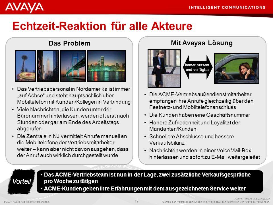 © 2007 Avaya Alle Rechte vorbehalten. 19 Avaya – Intern und vertraulich Gemäß den Vertragsbedingungen mit Avaya bzw. den Richtlinien von Avaya zu verw