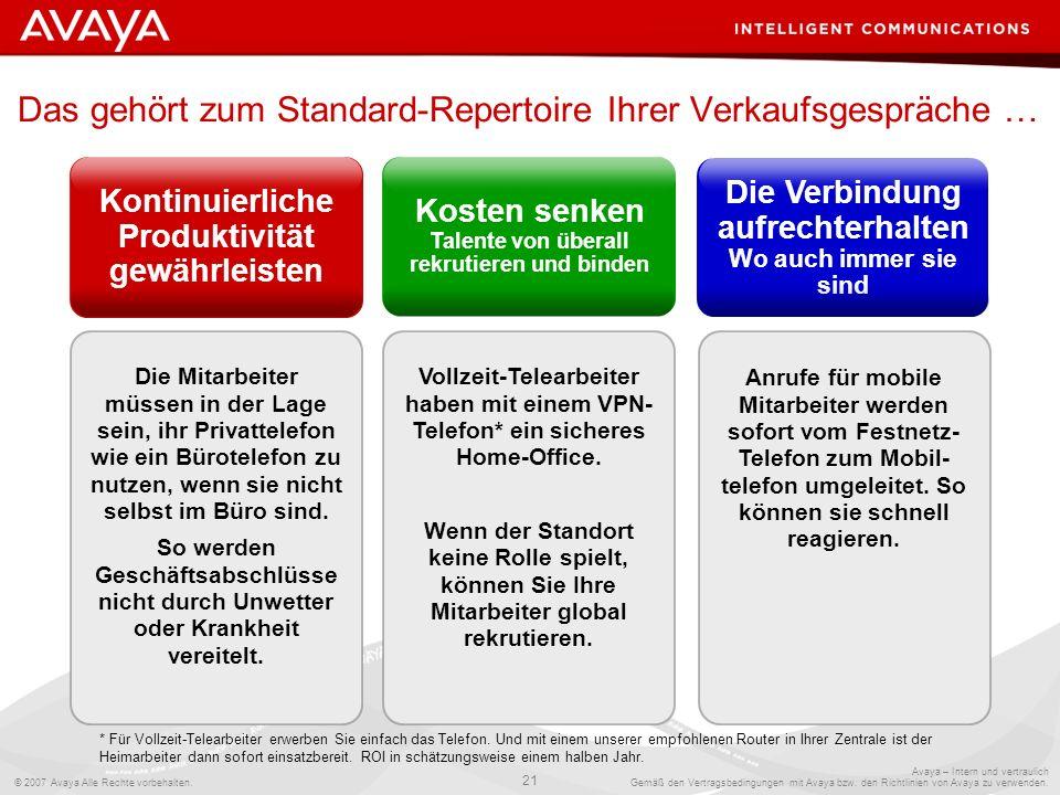 © 2007 Avaya Alle Rechte vorbehalten. 21 Avaya – Intern und vertraulich Gemäß den Vertragsbedingungen mit Avaya bzw. den Richtlinien von Avaya zu verw